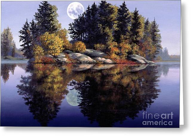 Majestic View Greeting Cards - Muskoka  Moon Greeting Card by Michael Swanson