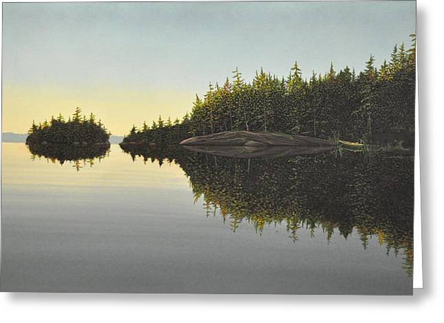 Fog Mist Paintings Greeting Cards - Muskoka Solitude Greeting Card by Kenneth M  Kirsch
