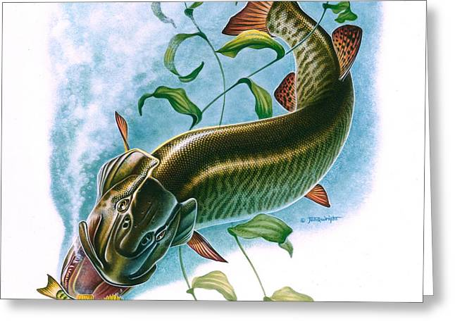 Musky Vignette Greeting Card by Jon Q Wright