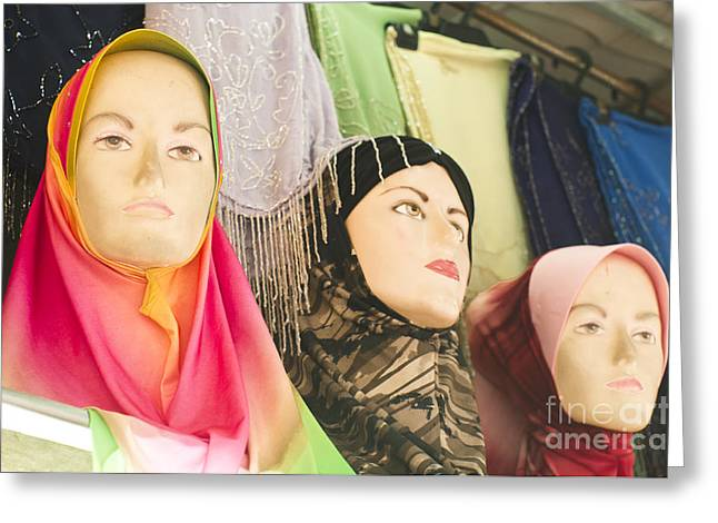Relationship Status Greeting Cards - Muslim Woman Mannequin Wearing Headscarf-hijab Or Hijaab Greeting Card by Tuimages
