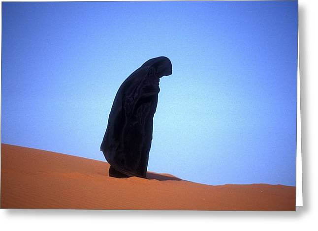 Muslim Woman Praying On A Sand Dune Photo Greeting Card by .