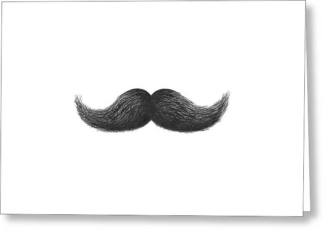 Stellar Drawings Greeting Cards - Mustache Greeting Card by Adam Vereecke