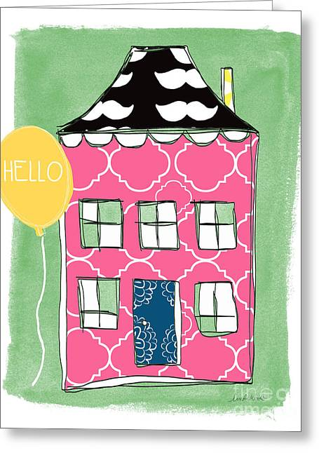 Whimsical Mixed Media Greeting Cards - Mustache House Greeting Card by Linda Woods