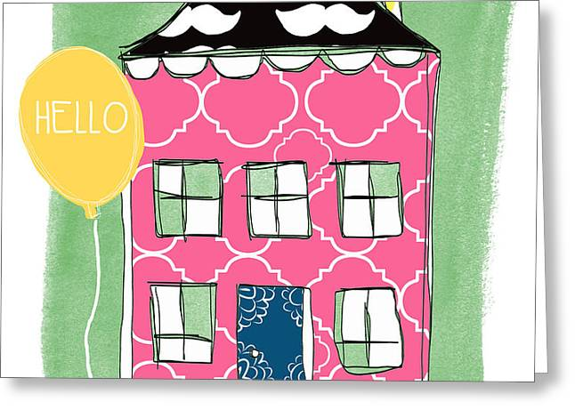 Mustache House Greeting Card by Linda Woods