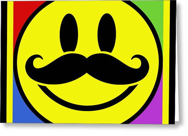 Mustaches Mixed Media Greeting Cards - Mustache Smile Greeting Card by Tony Rubino