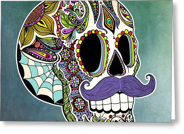 Ink Greeting Cards - Mustache Sugar Skull Greeting Card by Tammy Wetzel