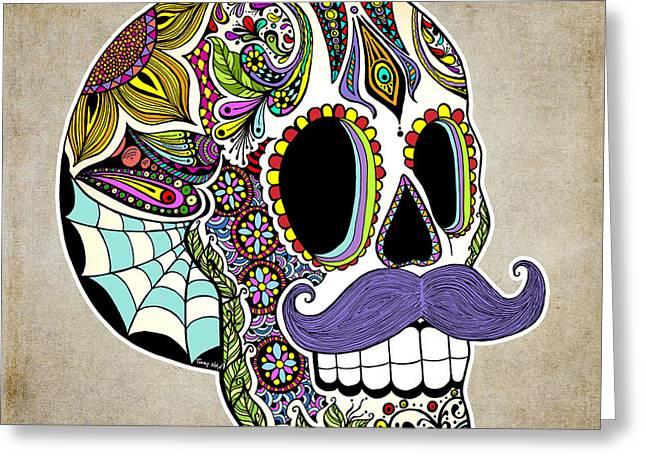 Mustache Digital Art Greeting Cards - Mustache Sugar Skull Vintage Style Greeting Card by Tammy Wetzel