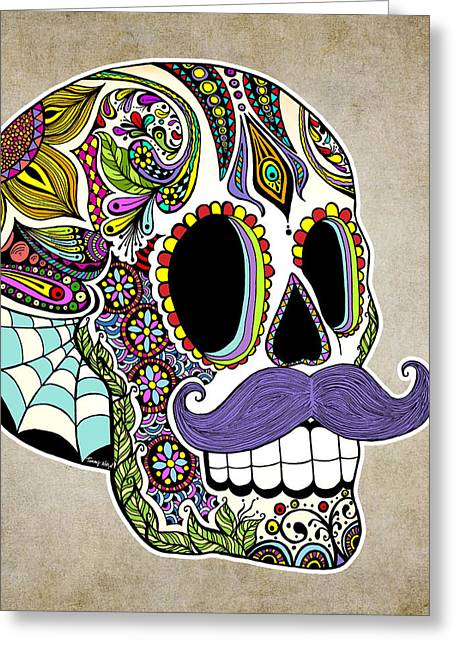 Mustache Greeting Cards - Mustache Sugar Skull Vintage Style Greeting Card by Tammy Wetzel