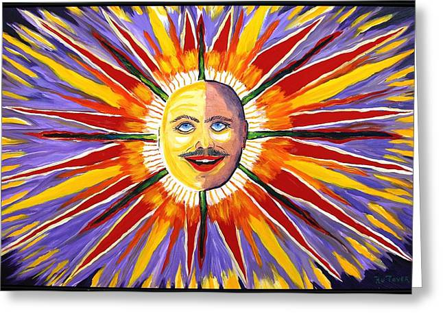 Prisma Colored Pencil Paintings Greeting Cards - Mustache Sun Greeting Card by Ru Tover