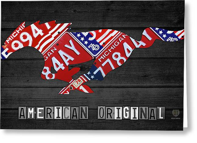 Mustang Art Greeting Cards - Mustang An American Original License Plate Art Greeting Card by Design Turnpike