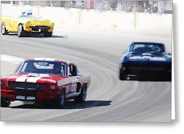 Mustang And Corvette Racing Watercolor Greeting Card by Naxart Studio