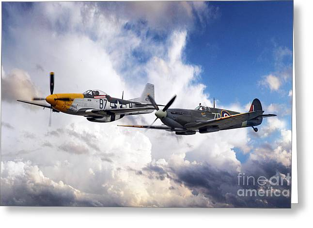 Ferocious Frankie Greeting Cards - Mustang and Spitfire  Greeting Card by J Biggadike