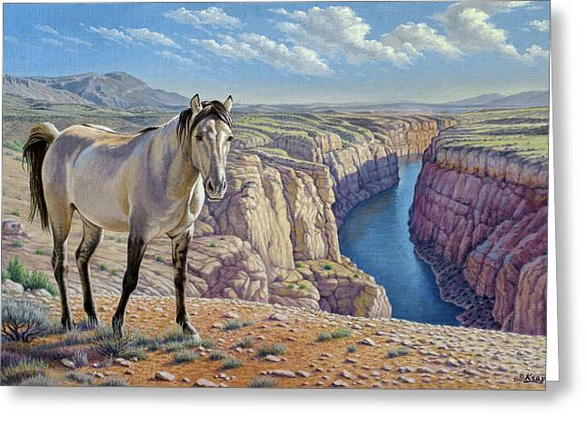 Wild Horses Paintings Greeting Cards - Mustang at Bighorn Canyon Greeting Card by Paul Krapf