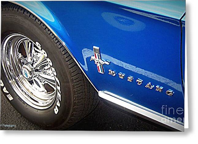 Print On Acrylic Greeting Cards - Mustang Blue Greeting Card by Bobbee Rickard
