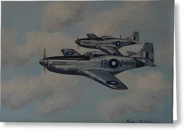 Murray Mcleod Paintings Greeting Cards - Mustang Duo Greeting Card by Murray McLeod