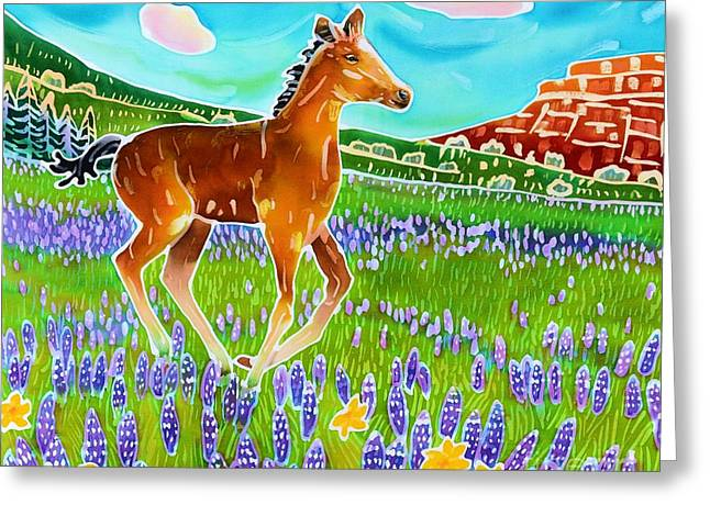 Filly Art Greeting Cards - Mustang Foal Greeting Card by Harriet Peck Taylor