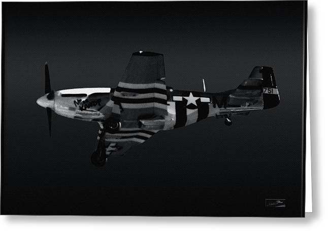 North American P51 Mustang Digital Art Greeting Cards - Mustang Kandy P51D Black and White Greeting Card by Rybird Music