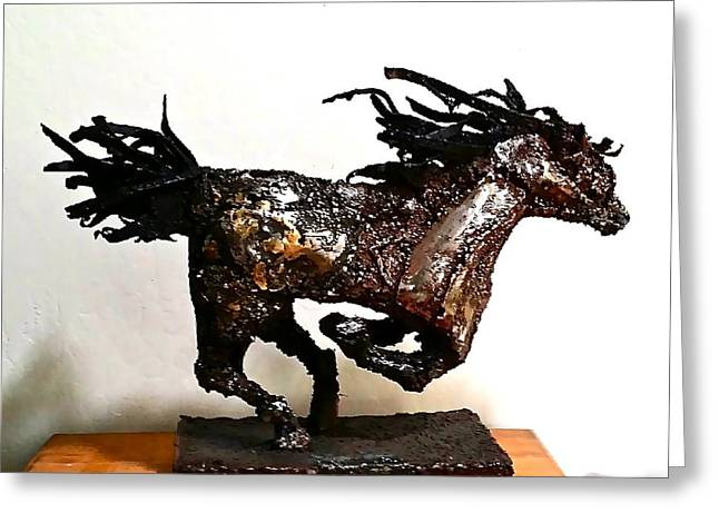 Wild Horse Sculptures Greeting Cards - Mustang Mare Greeting Card by Don Nemer