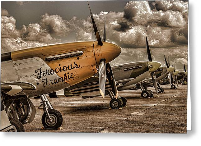 Spitfire Greeting Cards - Mustang Greeting Card by Martin Newman