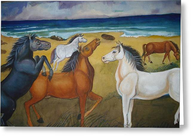 Prasenjit Dhar Paintings Greeting Cards - Mustang Mates Greeting Card by Prasenjit Dhar