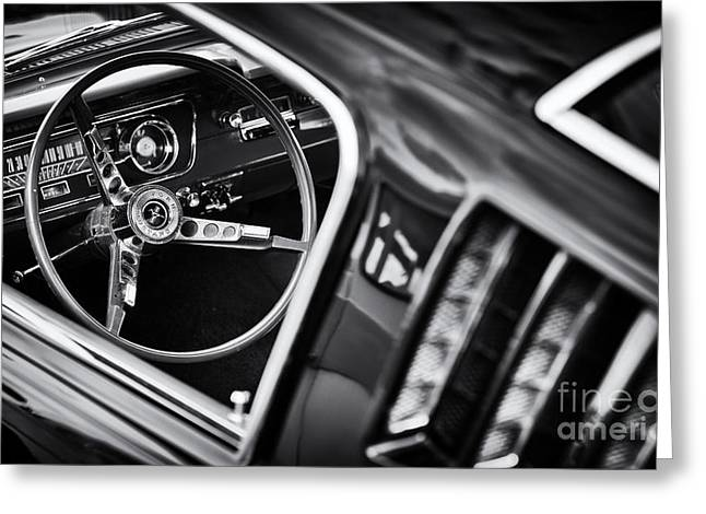 Mustang Monochrome Greeting Card by Tim Gainey