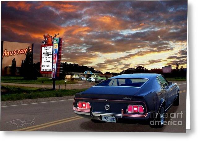 On The Beach Digital Greeting Cards - Mustang Muscle Greeting Card by Tom Straub