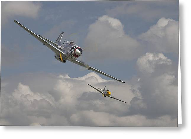 Fighter Aircraft Greeting Cards - Mustang Pair Greeting Card by Pat Speirs
