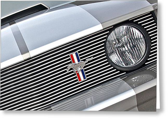 Geometric work Photographs Greeting Cards - Mustang Pony Grille Greeting Card by Gill Billington