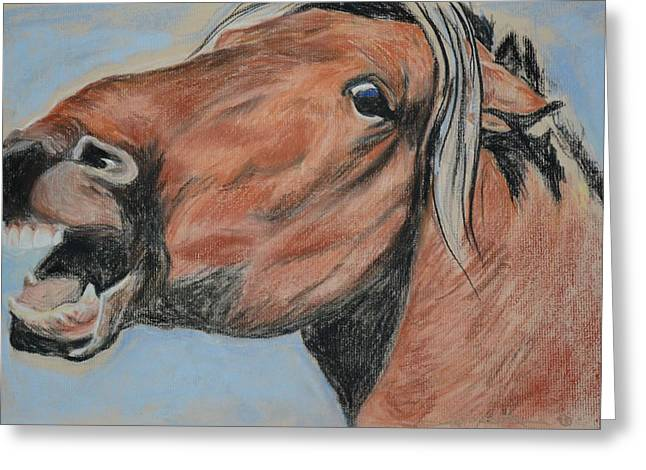 Wild Horse Pastels Greeting Cards - Mustang Greeting Card by Sandra Springborn