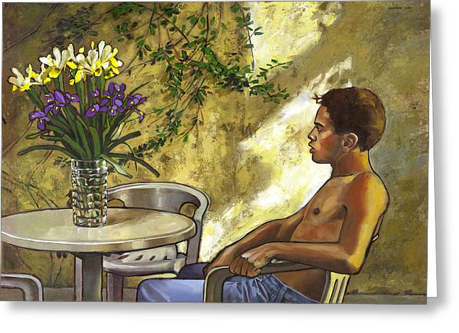 Mustapha's Garden Greeting Card by Douglas Simonson