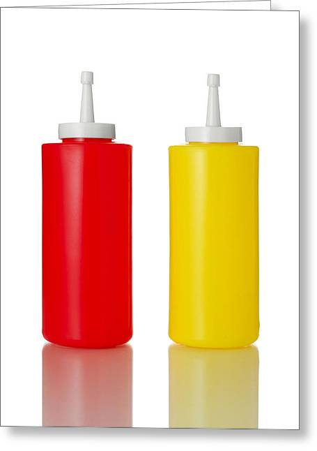 Burger Greeting Cards - Mustard And Ketchup Greeting Card by Jim Hughes