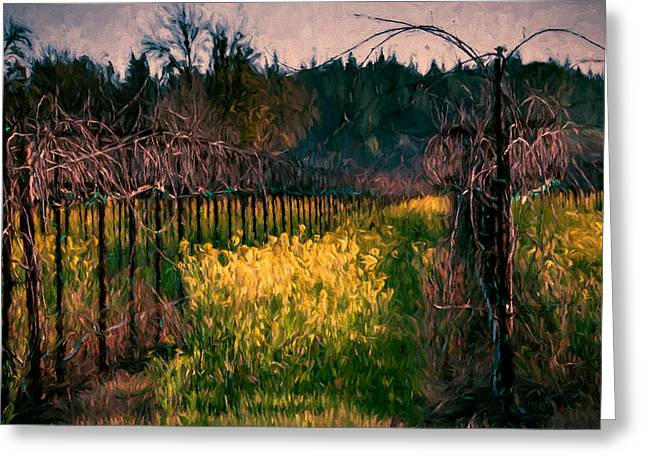 Vineyard Landscape Mixed Media Greeting Cards - Mustard Flowers with Vines Greeting Card by John K Woodruff