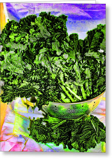 Collard Greens Greeting Cards - Mustard Greens Greeting Card by Cathy Anderson