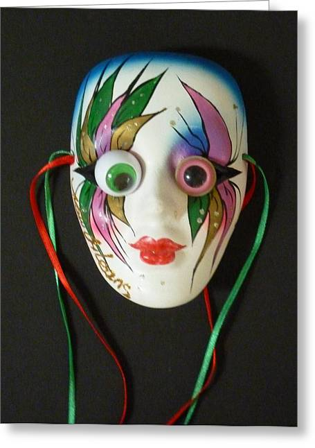 Quirky Sculptures Greeting Cards - Mutated Mardi Mask Greeting Card by Douglas Fromm