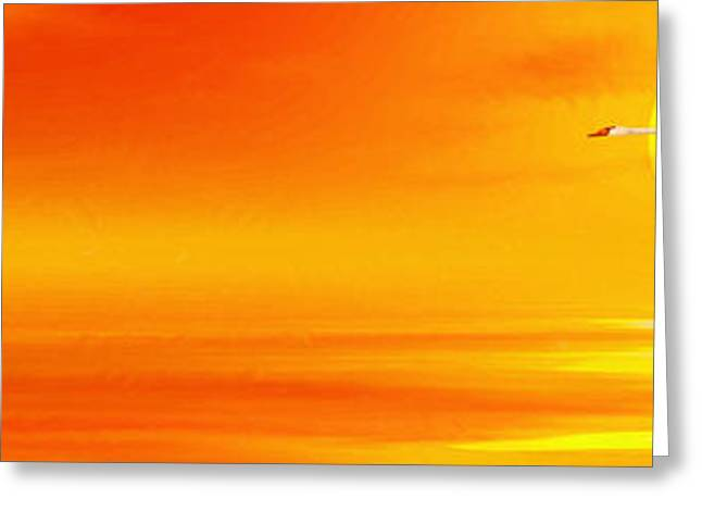 Swans... Digital Art Greeting Cards - Mute Sunset Greeting Card by John Edwards