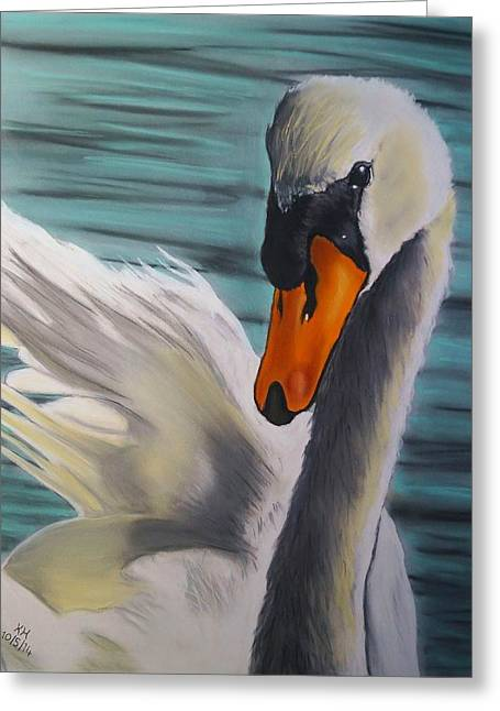 Muted Pastels Greeting Cards - Mute Swan Greeting Card by Kevin Hubbard