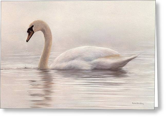Mute Greeting Cards - Mute Swan Painting Greeting Card by Rachel Stribbling