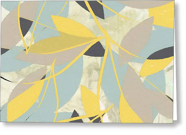 Yellow And Gray Abstract Greeting Cards - Muted Bloom Greeting Card by Lourry Legarde