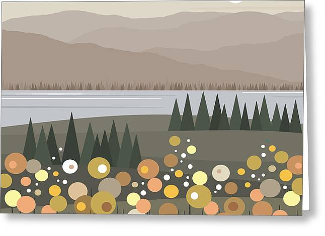 River View Digital Art Greeting Cards - Muted Landscape Greeting Card by Val Arie