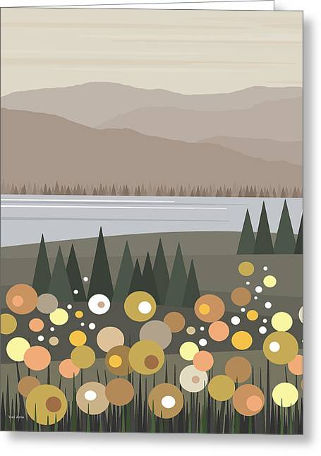 Pale Colors Greeting Cards - Muted Landscape Greeting Card by Val Arie
