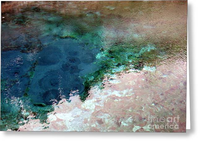 Caves Pyrography Greeting Cards - Muticolour Hot Spring Water in Banff National Park Greeting Card by Aeris Osborne