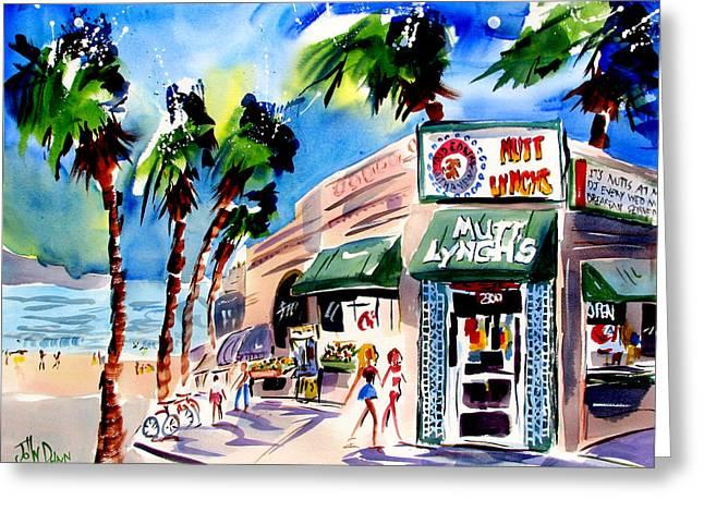 Tap Paintings Greeting Cards - Mutt Lynchs Newport Beach Greeting Card by John Dunn