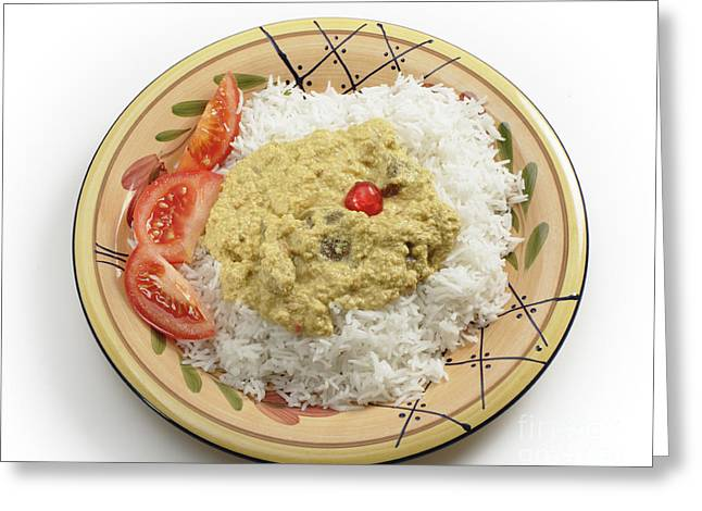 Basmati Greeting Cards - Mutton mughlai curry from above Greeting Card by Paul Cowan