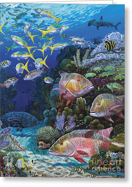 Scuba Diving Paintings Greeting Cards - Mutton Reef Re002 Greeting Card by Carey Chen
