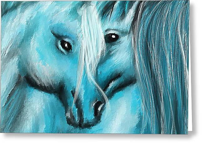 Wild Horses Greeting Cards - Mutual Companions- Fine Art Horse Artwork Greeting Card by Lourry Legarde