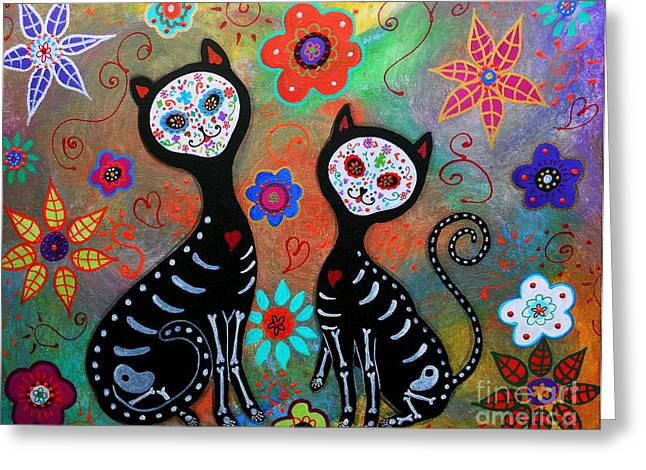 Turkus Greeting Cards - My 2 Cats Dia De Los Muertos Greeting Card by Pristine Cartera Turkus