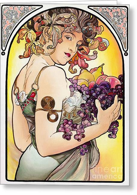 Yakubovich Greeting Cards - My Acrylic Painting As An Interpretation Of The Famous Artwork by Alphonse Mucha - Fruit Greeting Card by Elena Yakubovich