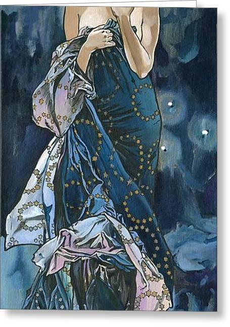 My Acrylic Painting As An Interpretation Of The Famous Artwork Of Alphonse Mucha - Moon - Greeting Card by Elena Yakubovich