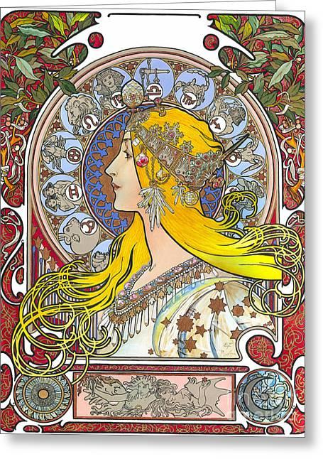 Elena Yakubovich Greeting Cards - My Acrylic Painting As An Interpretation Of The Famous Artwork Of Alphonse Mucha - Zodiac - Greeting Card by Elena Yakubovich