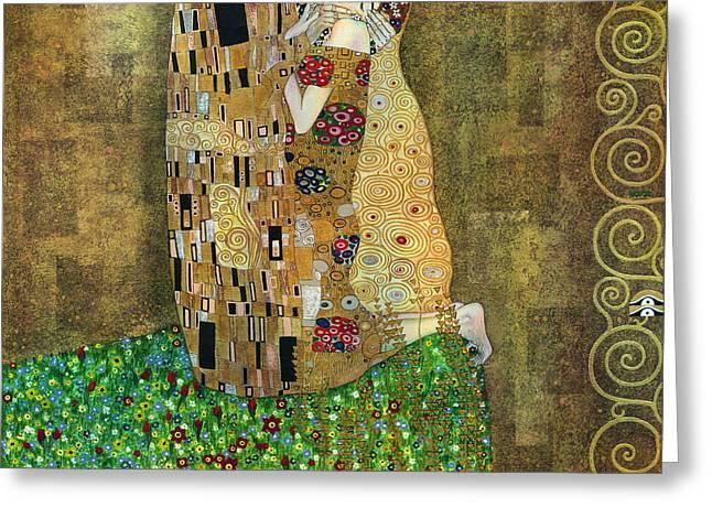 My Acrylic Painting As An Interpretation Of The Famous Artwork Of Gustav Klimt The Kiss - Yakubovich Greeting Card by Elena Yakubovich